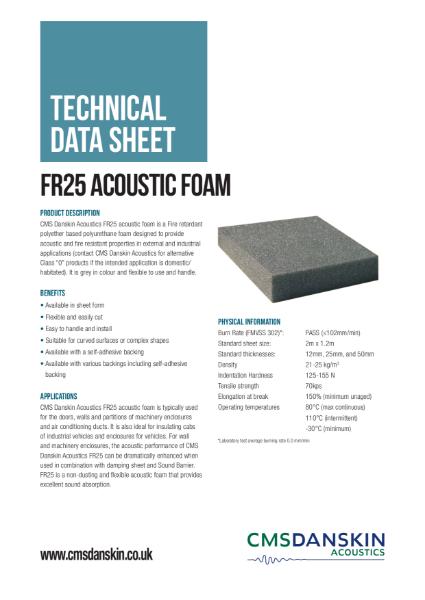 CMS Danskin Acoustics FR25 Fire Retardant Foam TDS