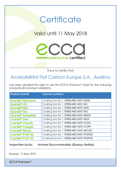 ECCA Premium - Certificate ArcelorMittal FCE Avellino