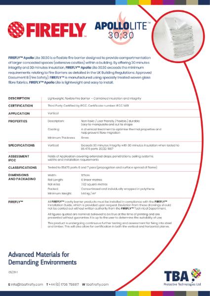 FIREFLY™ Apollo Lite 30:30 Fire Barrier - Data Sheet