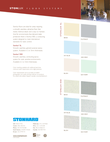 Stonlux Resin Flooring System Colour Chart