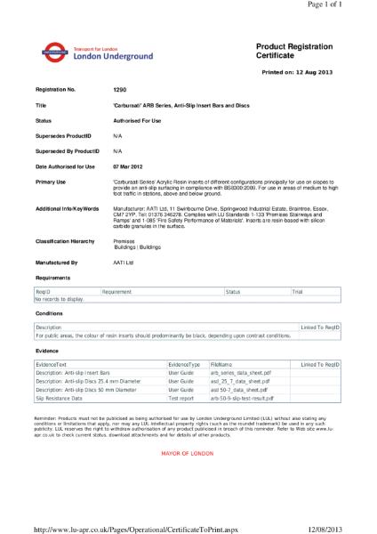 AATi certificate for AATi Anti-slip Carburaati Insert Bars & Dics