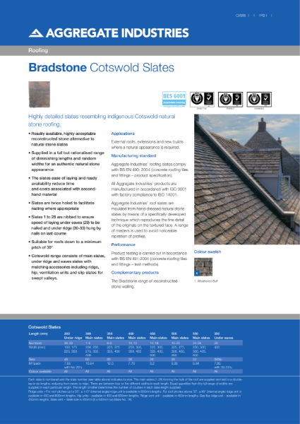 Bradstone Cotswold Roofing Slates