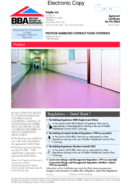 94/3064 Polyflor marbleised contract floorcoverings