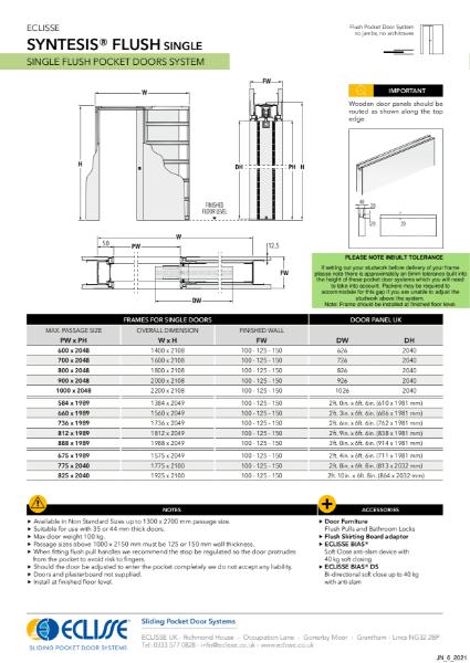 Syntesis®  SINGLE Flush Pocket Door System