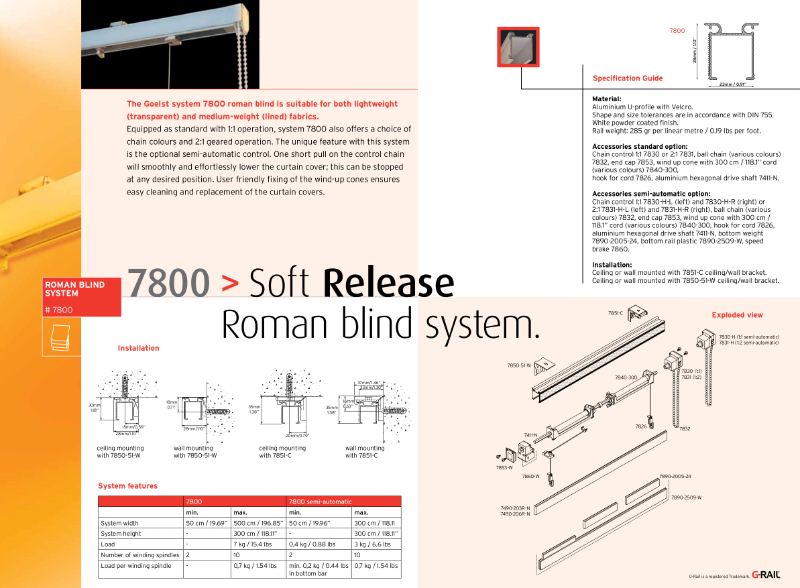 7800 Soft Release Roman Blind System