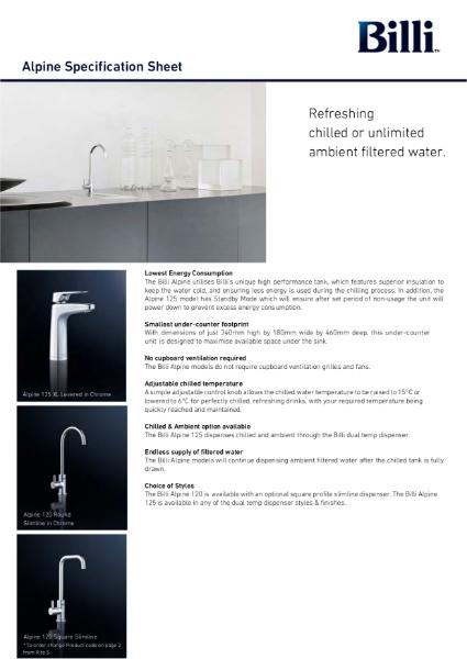 Billi Alpine - Filtered Water System - Data Sheet