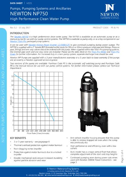 Newton NP750 Pump
