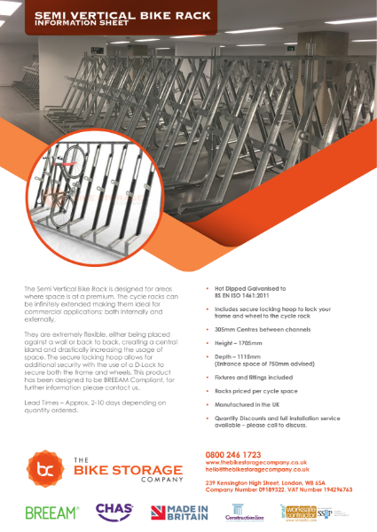 Bike Rack - Semi Vertical Cycle Rack Specification Sheet