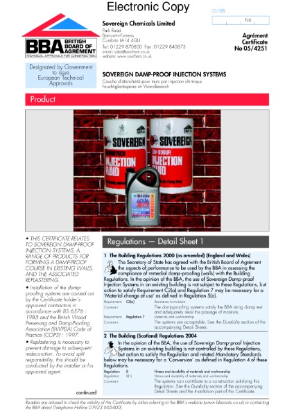 05/4251 Sovereign damp-proof injection systems