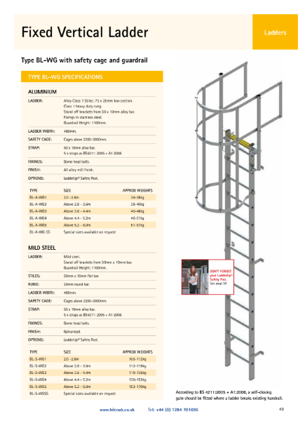 TYPE BL-WG Fixed Ladder with Safety Cage and Guardrail