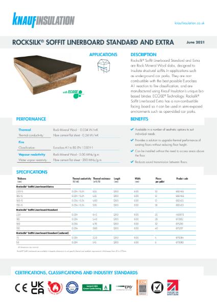 Knauf Insulation Rocksilk® Soffit Linerboard Standard Insulation Data Sheet