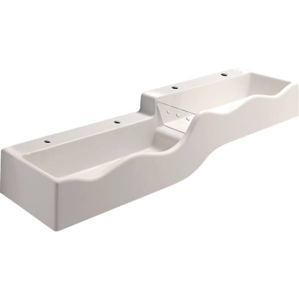 Bambini play and washspace, for four washbasin taps, lower basin on the left