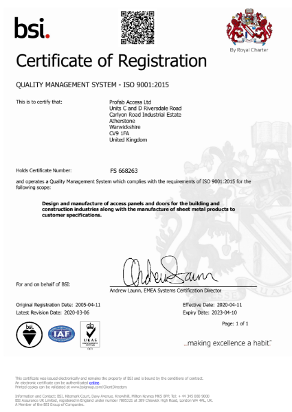 Profab Access ISO 9001:2015 Certificate