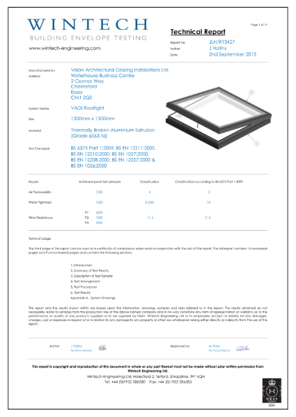 Air & Water Permeability Test Certificate