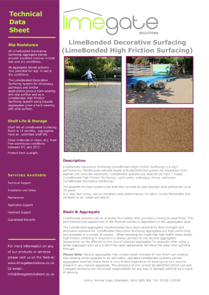 LimeBonded Decorative Surfacing (LimeBonded High Friction Surfacing)