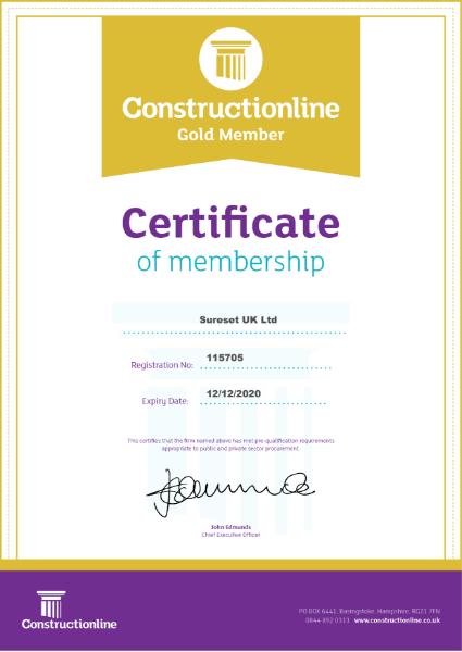 Constructionline Gold Member Certificate