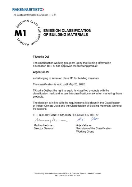 M1 CLASSIFICATION CERTIFICATE - ARGENTUM 20