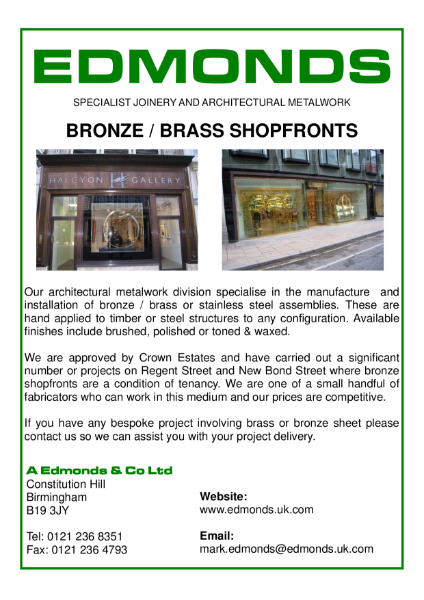 Edmonds Bronze/Brass Shop Fronts, Specialist Joinery and Architectural Metalwork