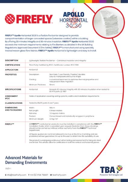 FIREFLY™ Apollo Horizontal 30:30 Fire Barrier - Data Sheet