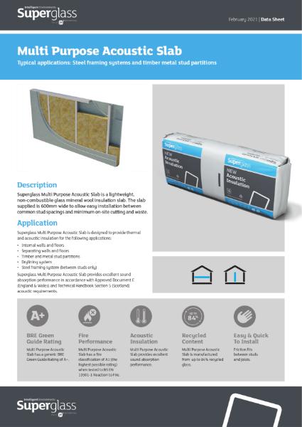 Superglass Multi Purpose Acoustic Slab - Datasheet