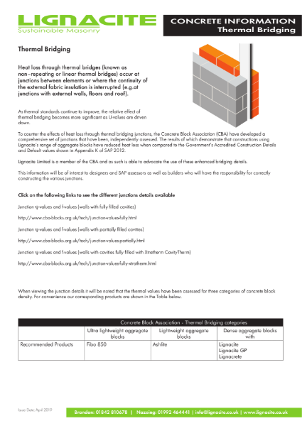Thermal Bridging Information - Lignacite
