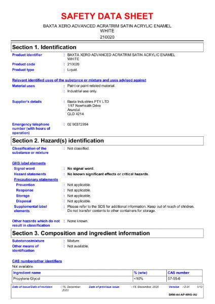 Xero advanced Acatrim satin acrylic enamel safety data sheet