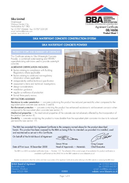 Sika watertight concrete construction system