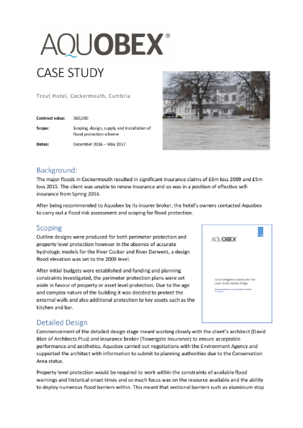 Trout Hotel Case Study illustrating the high quality specification, support, design and products Aquobex offers in delivering bespoke flood protection for commercial properties
