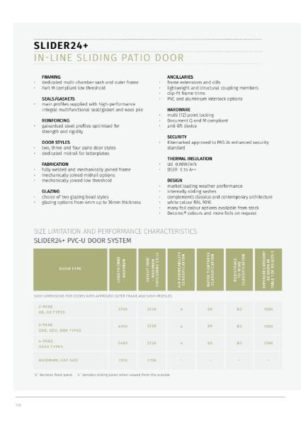 13. Specification Guide - Slider24+ In-Line Sliding Patio Door