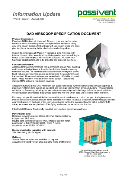Passivent Specification Document - Airscoop Roof Ventilation Terminal - Direct Air Dispersal