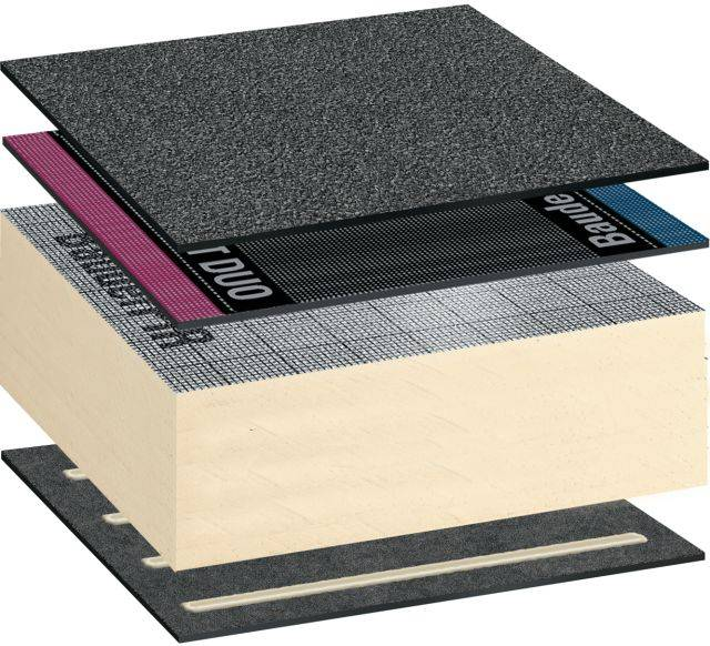 Bauderflex Reinforced Bitumen Membrane Warm Roof Covering System Self-Adhered (with Torch-On Capping Sheet)