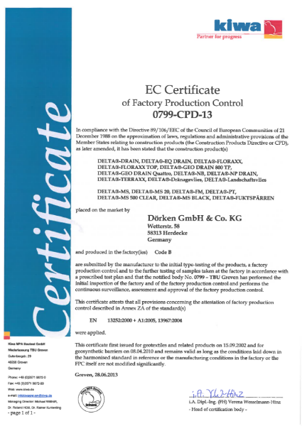 Delta EC Certificate of Factory Production Control 0799-CPD-13