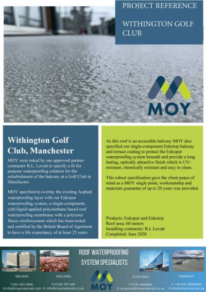 WITHINGTON GOLF CLUB * MOY LIQUID SYSTEM