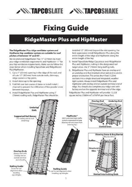 RidgeMaster Plus & HipMaster Fixing Guide