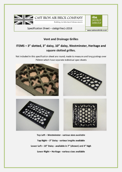Cast Iron Vent and Drainage Grilles