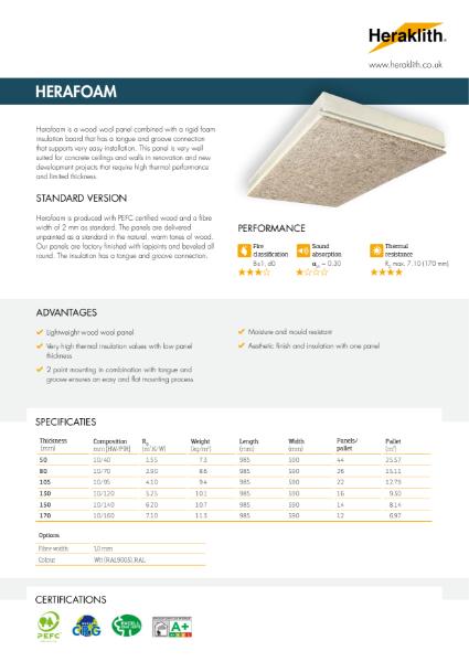 Technical Datasheet Herafoam Wood Wool Board with PIR insulaton