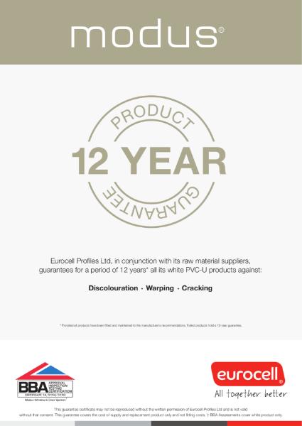 Modus 12 Year Product Guarantee Certificate