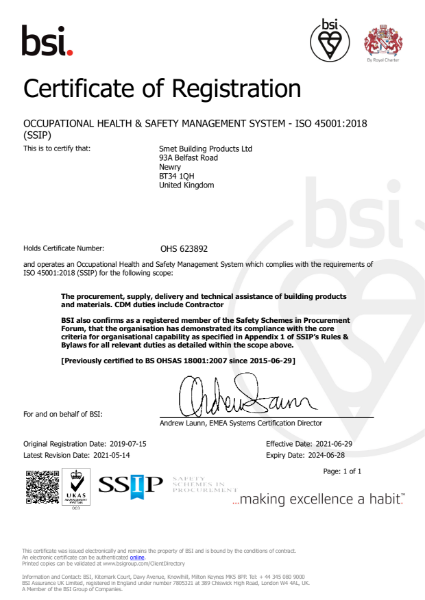 BSI Certificate of Registration ISO 45001:2018