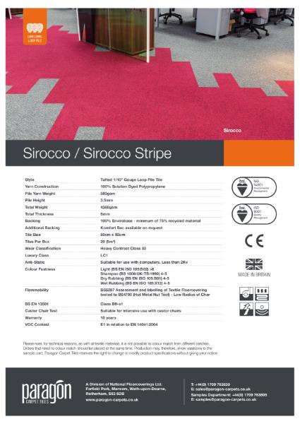 Paragon Carpet Tiles - Sirocco Stripe - Specification Information
