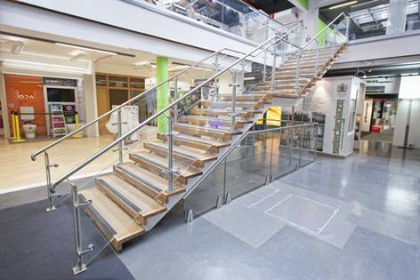 Glass balustrade +  Spotlight - Central staircase The Building Centre London