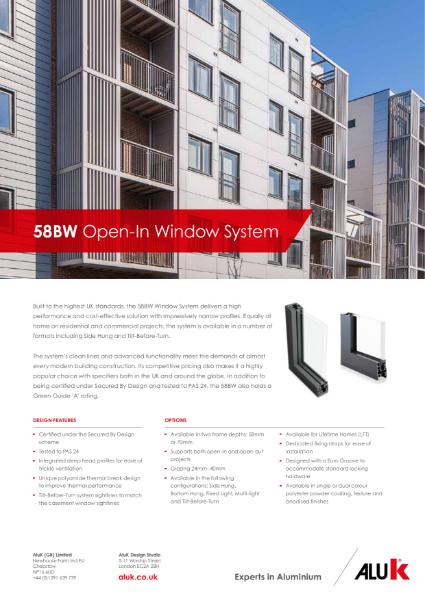 AluK 58BW Open In Window System Datasheet