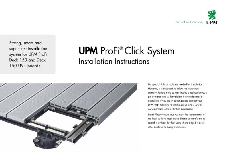 UPM ProFi Click System installation instructions