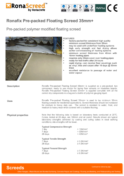 Ronafix Pre-packed Floating Screed 35mm+