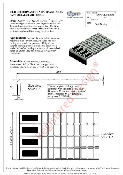 Stair Nosing Anti-slip type SN93/SL3/280RT® Cast metal