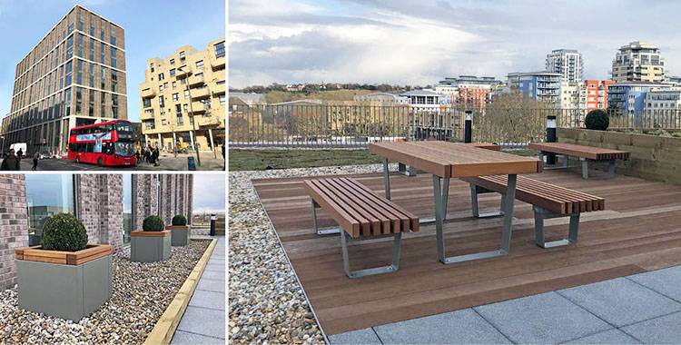 Coordinated furniture for local authority roof terrace