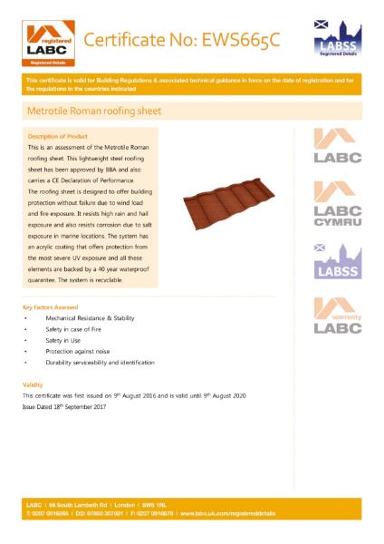 LABC Metrotile Roman Roofing Sheet Certificate
