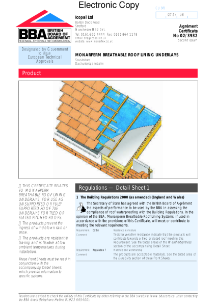 02/3932 Monarperm breathable roof tile underlays