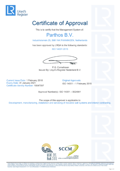 Parthos factory ISO 14001 Certificate