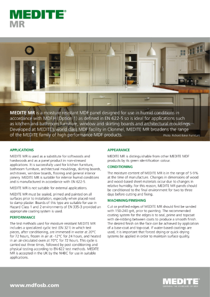 MEDITE MR (Moisture Resistant) MDF - Designed for use in humid conditions