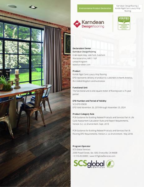 Enviromental Product Declaration - Korlok Rigid Core
